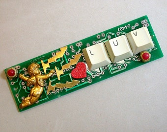 Recycled CIRCUIT BOARD Magnet I Love You