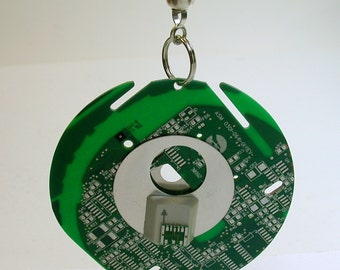 Recycled Vintage Green Circuit Board Geek LIGHT FAN PULL