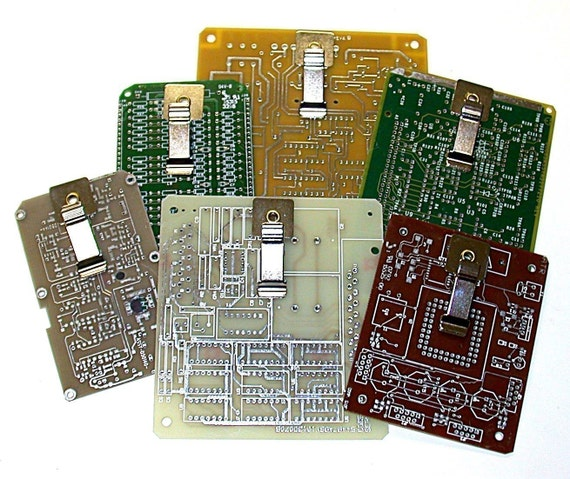 THREE RECYCLED CIRCUIT BOARD MINI-MAGNETIC CLIPBOARDS FOR POST-IT NOTES