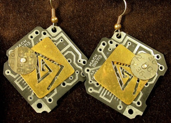 Recycled Black CIRCUIT BOARD Steampunk Earrings Vintage Brass