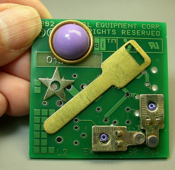 Recycled CIRCUIT BOARD MAGNET Geekery Eco-Friendly Vintage