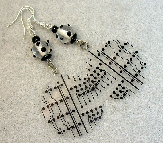 Recycled Circuit Board EARRINGS PHOTOGRAPHIC Film VINTAGE Czech Beads