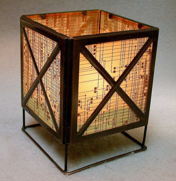 RECYCLED CIRCUIT BOARD Geek Vintage Lantern Candle Holder