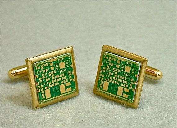 Recycled Vintage Geek CIRCUIT BOARD Cuff Links 24k GOLD