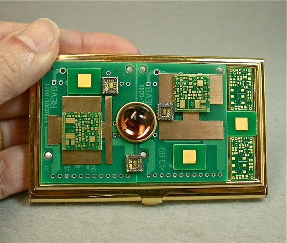 Recycled 24K Gold CIRCUIT BOARD Vintage Brass Card Holder