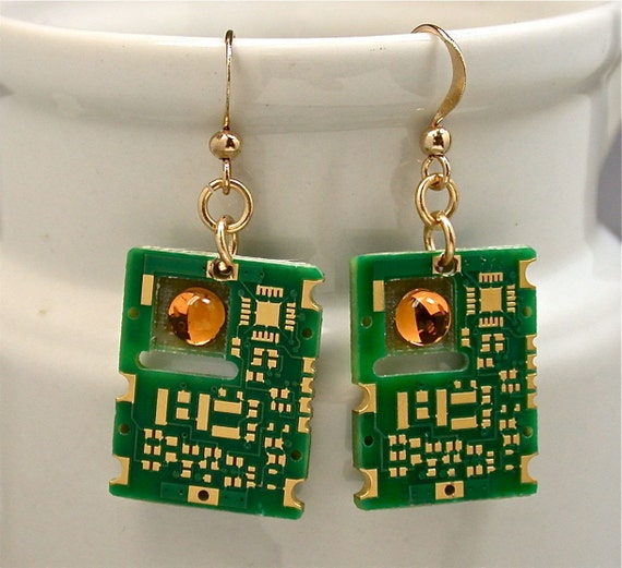 Recycled 24K GOLD Circuit Board Earrings Midas Touch