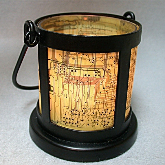 RECYCLED Circuit Board VINTAGE Black Wrought Iron Geek CANDLE Holder