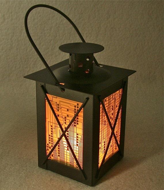 RECYCLED CIRCUIT BOARD Geek Vintage Black Metal Lantern Candle Holder