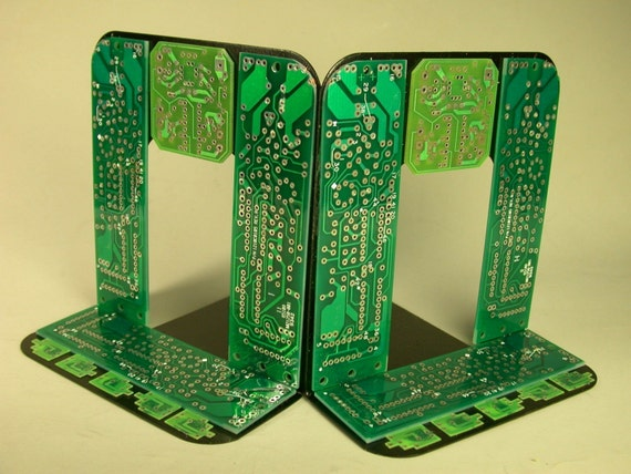 RECYCLED Computer CIRCUIT BOARD GEEKERY BOOKENDS  For DAD  the Bookworm  for HOME or OFFICE