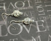 Reserved for Audrey     Bridal / Formal Silver Rhinestone Ball and Crystal Earrings