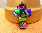 Dichroic Glass Multi Colored Cross Pendant