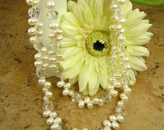 Bridal \/ Formal Stunning Large Freshwater Pearl and Crystal Necklace and Earring Set  N-061