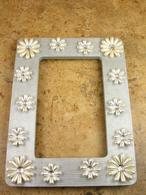 Whimsical Pearl Floral Silver Picture Frame