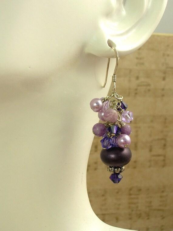 Eggplant Purple Lampwork Crystal Earrings   E-559