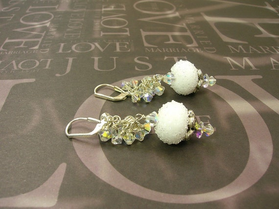 Snowball Sugar Crystal Earrings  E-561
