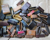 Recycled Leather Belt Loops Keepers Huge lot of 51 recycled Belt parts for your needs