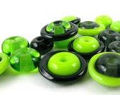 Bag-O-Beads - Lime and Black Lampwork Beads