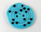 Turquoise with Black Dots Lampwork Button