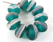 Silvered Ivory on Teal -Lampwork Accent Beads - Etched