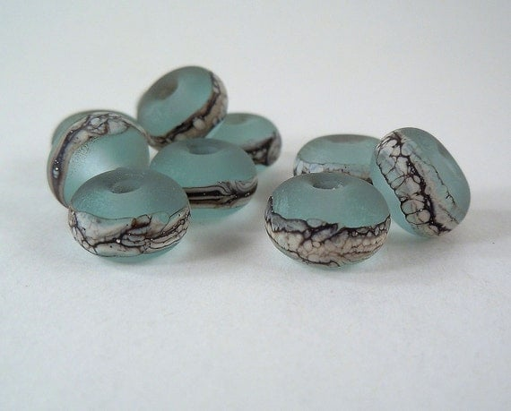 Silvered Ivory on Pale Aqua -Lampwork Accent Beads - Etched