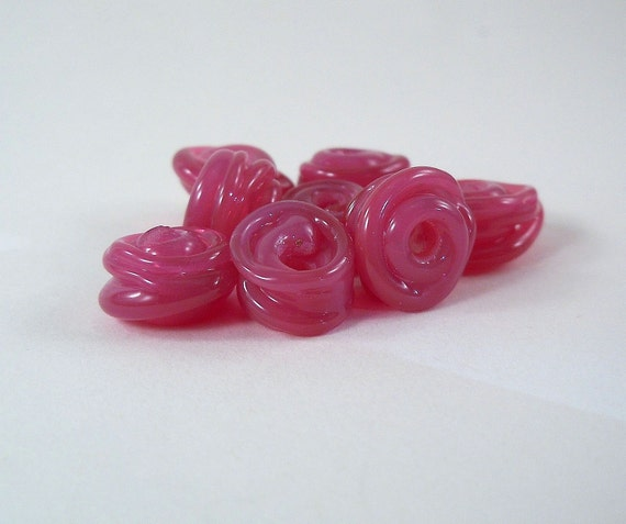 Lampwork Spacer Beads - Raspberry Rose