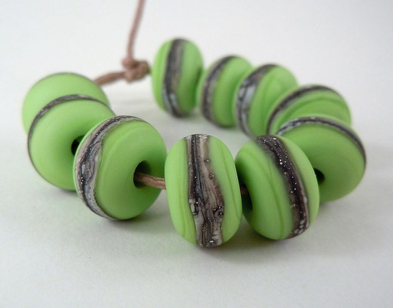 Silvered Ivory on Lime Green -Lampwork Accent Beads - Etched - new color