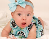 Set of 4 Solid Hair Bows in Your Choice of Solid Colors on Nylon Headband perfect for Newborns and Infants