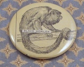 CLEARANCE Black Howler Monkey Vintage 1920s Ephemera Pocket Mirror