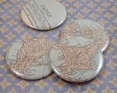 Japan Map Magnets, Vintage 1920s Atlas, set of 4 ----