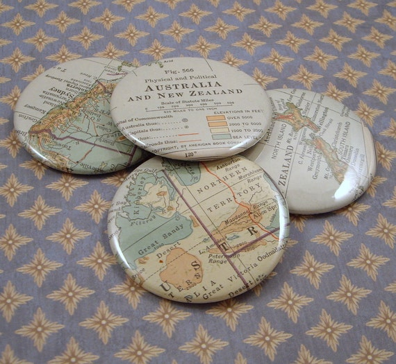 Australia and New Zealand Map Magnets, Vintage 1920s Atlas, set of 4