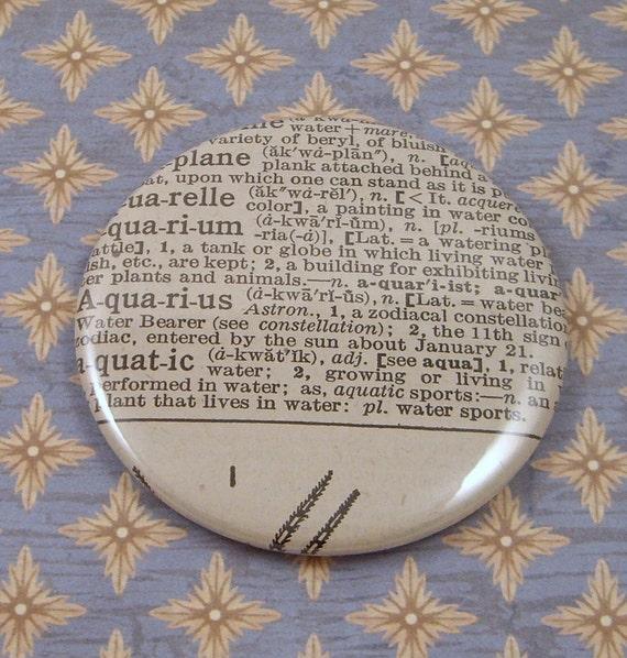 Aquarius Vintage Dictionary Pocket Mirror