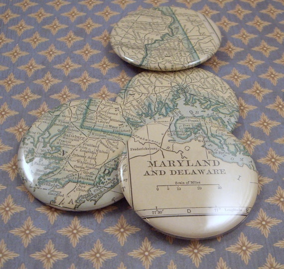 Maryland and Delaware Map Magnets, Vintage 1920s Atlas, set of 4