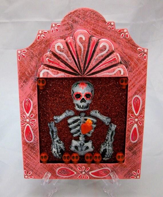 Dia De Los Muertos Nicho Plaque Red