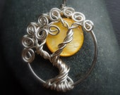 Yellow Moon Mother of Pearl Sterling Silver Tree of Life Necklace