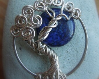Lapis Moon Sterling Silver Tree of Life Necklace