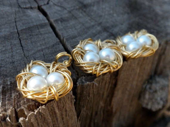 Handmade, Bird nest, Eggs, charms, pendant, silver, gold, Moms, Blessed Nest, By Vixens Natural Jewelry on Etsy