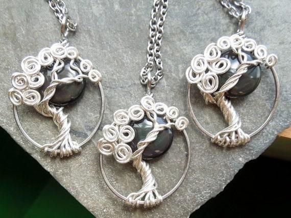 Rainbow Obsidian Moon Tree Necklace Silver