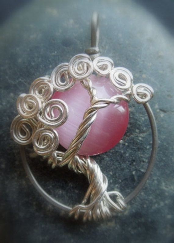 Pink Moon and Tree Necklace-Silver-Cat Eye