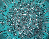 Mandala: Happy, Healthy, Calm and Strong Mantra Original Painting Transformative Art