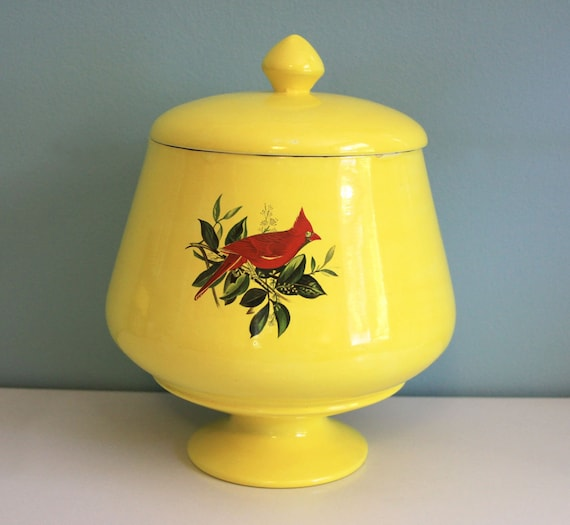 Vintage Bright Yellow Bird Jar with Cardinal