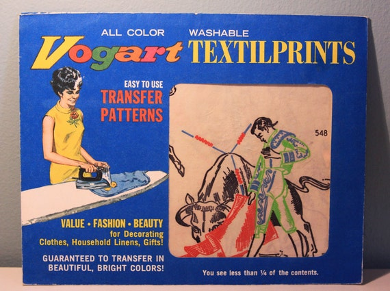 Vintage Vogart Transfer Pattern Iron Ons - Spanish Matador / Bullfighter