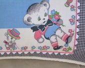 SALE Baby Boy pillow  with vintage handkerchief  - 2 Available