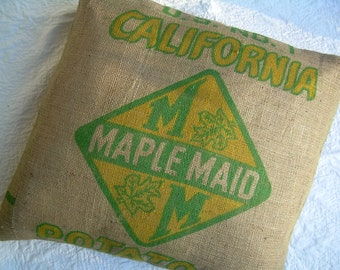 "Burlap Pillow Sham - 26"" Repurposed  California Potato Sack"