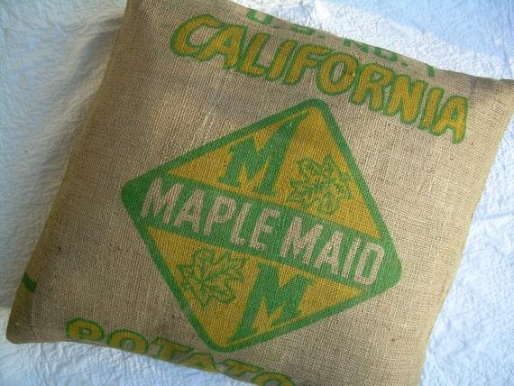 """Burlap Pillow Sham - 26"""" Repurposed  California Potato Sack"""
