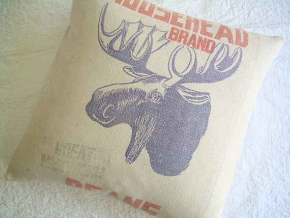 Grain Sack Pillow - A Moose on the Loose - 22""