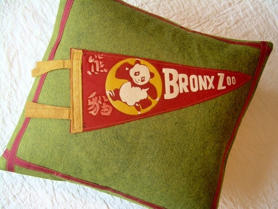 Vintage Pennant Pillow - Bronx Zoo