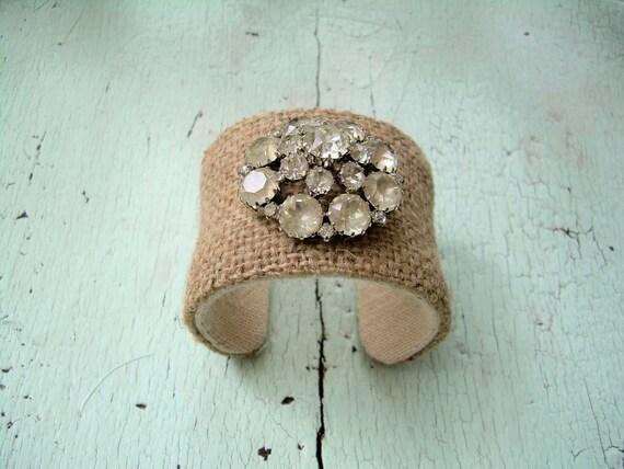 Cuff Bracelet - Burlap and Rhinestones