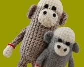 Crochet Mini Sock Monkey in 2 Sizes Pattern