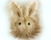 White and Brown Mopsy Bunny Faux Fur Stuffed Toy Plushie Large Size