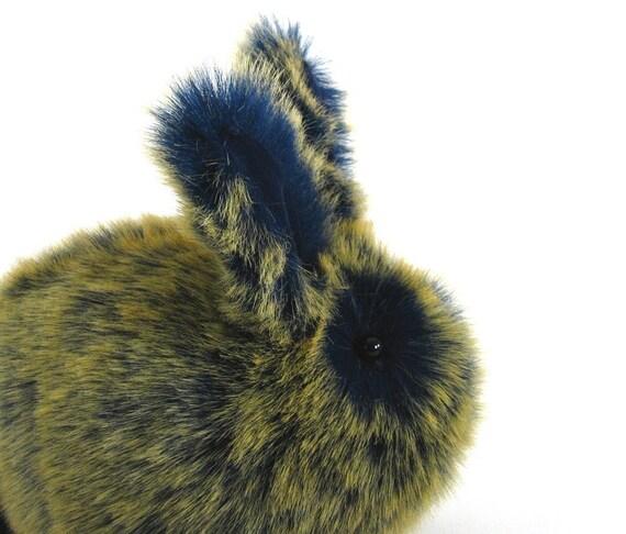 Indigo and Yellow Sigmund the Rabbit Faux Fur Plushie Momma Size